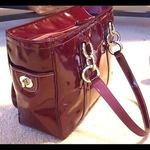 Coach cherry tote patent leather handbag